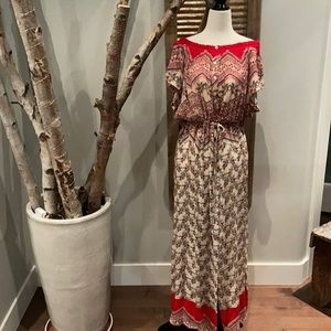Patrons of Peace off the shoulder maxi dress